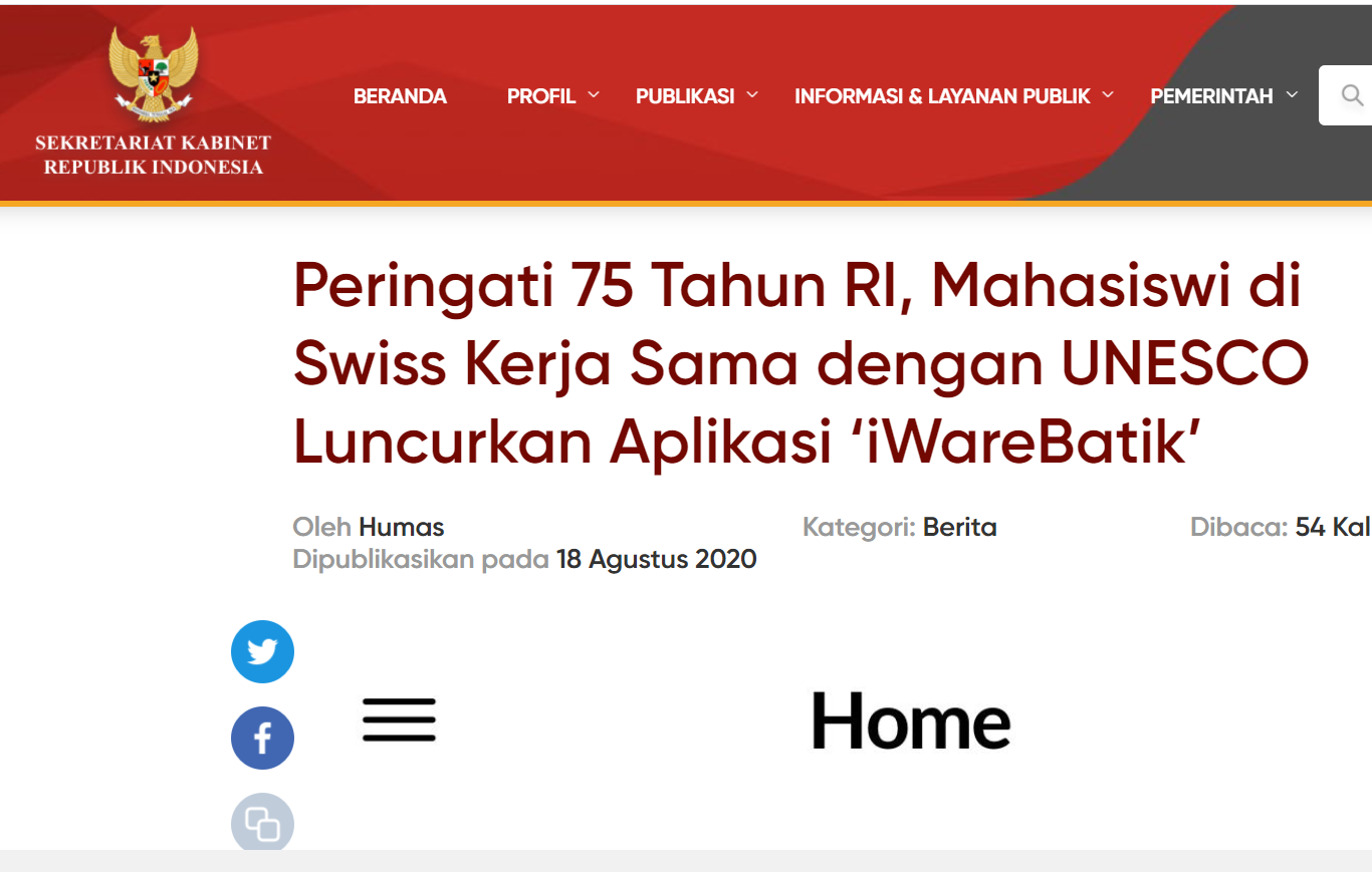 iWareBatik being featured by Major Indonesian Governmental Bodies and News Agencies
