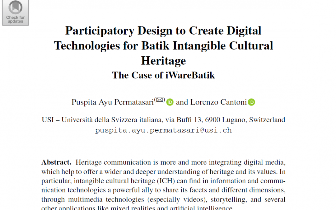 Participatory Design to Create Digital Technologies for Batik Intangible Cultural Heritage in HCI Conference 2021, Washington DC